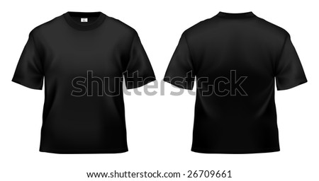 Men's black T-shirt design template (clipping path). - stock photo