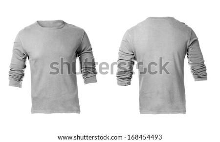 Men's Blank Grey Long Sleeved Shirt, Front Design Template - stock photo
