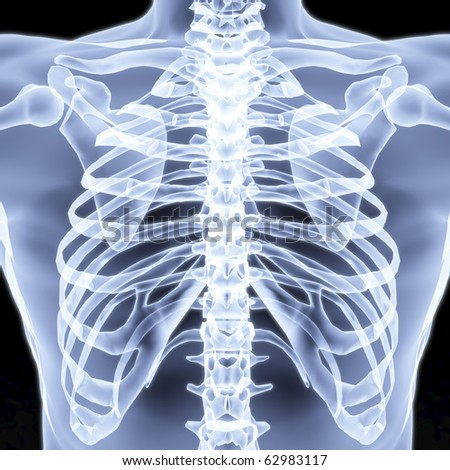 Men's chest X-rays under. 3d image. - stock photo