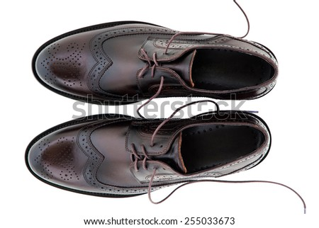 Men's Classic Black Leather Shoes Isolated on White Background - stock photo