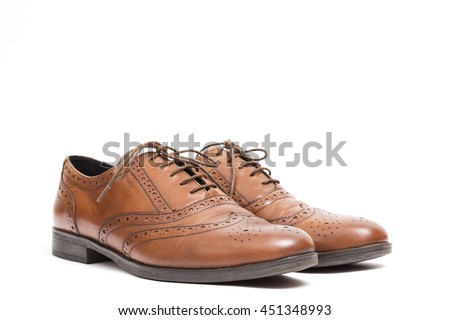 Men's classic brown leather shoes isolated on white background - stock photo