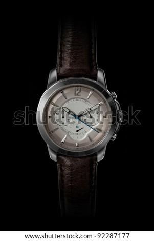 men's classic watch on black - stock photo