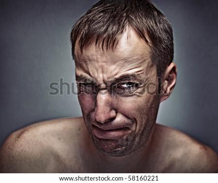 men's effort expression portrait - stock photo