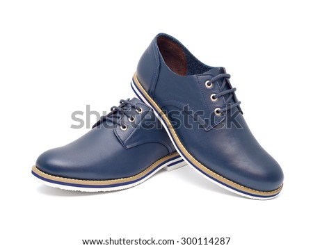 Men's fashion shoes blue, casual design on a white background isolated - stock photo