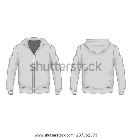 Men's hoodie shirts template.  Front and back views.  illustration. - stock photo