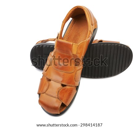 Men's leather sandals isolated on white background - stock photo