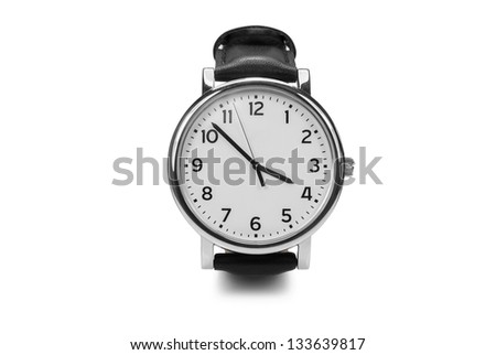 Men's mechanical watch.Isolated on a white background - stock photo