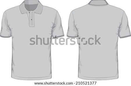 Men's polo-shirts template. Front and back views. Raster version - stock photo