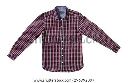 Men's red and black plaid shirt isolated on white with natural shadows. - stock photo