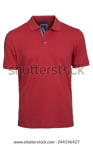 Men's red Polo Shirt isolated - stock photo