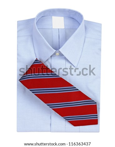 Men's shirt with matching neck tie isolated on white background - stock photo