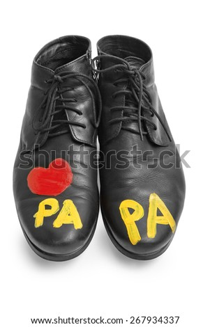"Men's shoes child says ""papa"" - stock photo"