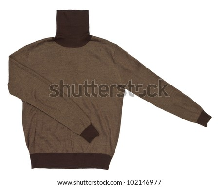 Men's solid color sweater with the neck on a white background - stock photo