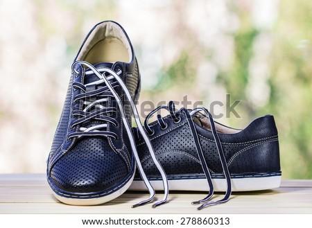 Men's sports shoes.  Copy space - stock photo
