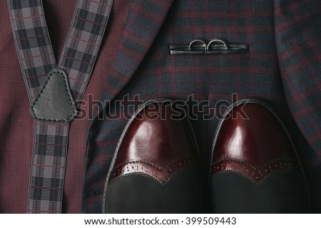 men's wedding suit accessories and  leather shoes - stock photo