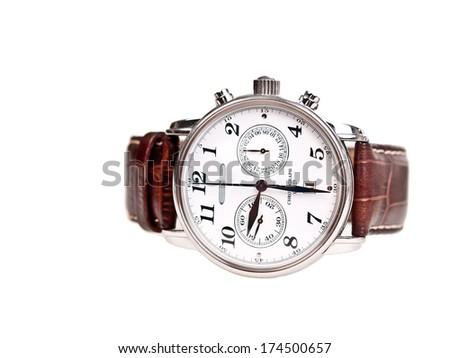 men's wrist watch isolated on white - stock photo