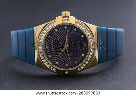 Men's Wrist Watches on black background  - stock photo