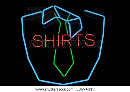 Men Shirt and Green Tie Neon Sign Advertisement - stock photo