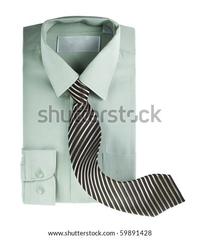 Men shirt and striped neck tie isolated - stock photo