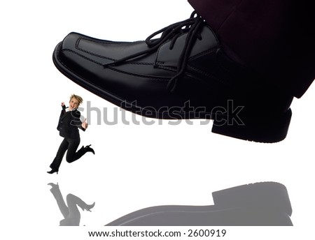 men shoe stepping on business women concept on white - stock photo