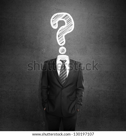 men standing with out head with drawing question - stock photo