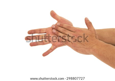 Men Washing hands on a white background - stock photo