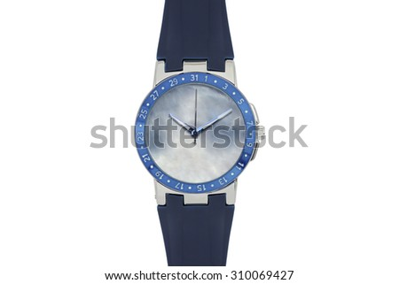Men watch with silicone bracelet - stock photo
