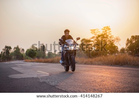 Men who like to ride motor motorcycle tour. - stock photo