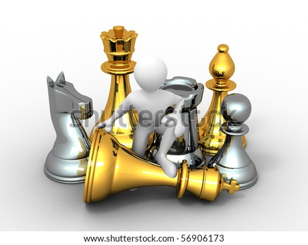 Men with chess. 3d - stock photo