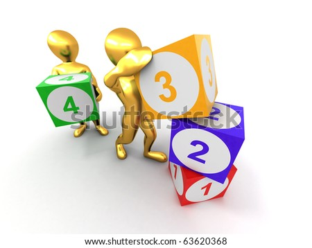Men with cubes. Numbers. 3d - stock photo