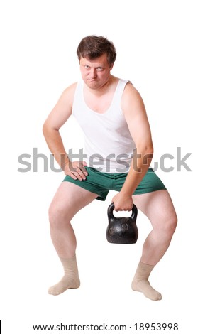 men with dumbbells isolated on white - stock photo