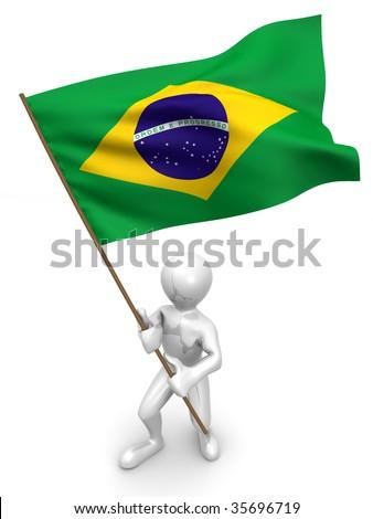 Men with flag. Brazil. 3d - stock photo