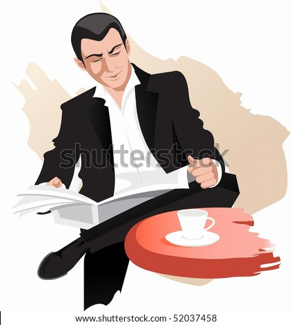men with newspaper - stock photo