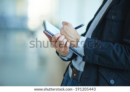 men with notebook - stock photo