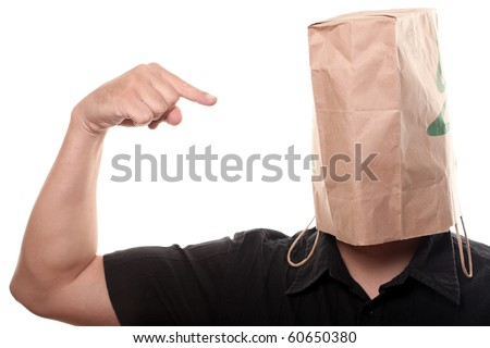 Men with Paper Bag over his Head - stock photo