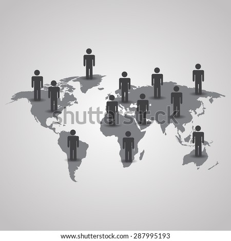 Men with shadow on the world map illustration on gray background - stock photo