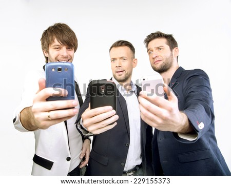 Men with smartphones - stock photo