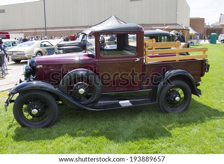 MENASHA, WI - MAY 16:  1930 Ford Pickup Truck at 7th Annual Car Show May 16, 2014 in Menasha, Wisconsin. - stock photo