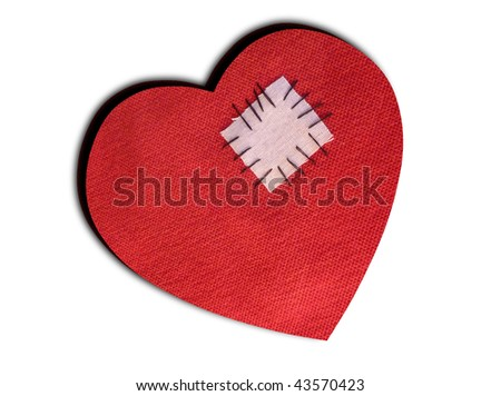 Mended broken heart -Valentine symbolic - stock photo