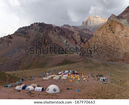 MENDOZA, ARGENTINA - JAN 12: Confluencia Base camp. Org. support helped 5400 people intend the summit. Over 35,000 tried the high altitude trekking. Jan 12, 2014 in Aconcagua Mount, Mendoza, Argentina - stock photo