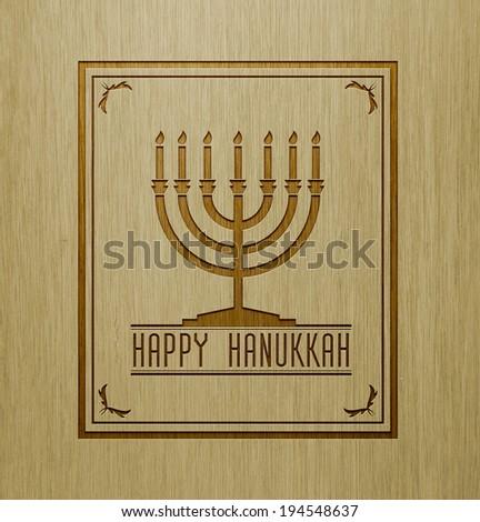 Menorah on wood texture with massage happy Hanukkah. - stock photo