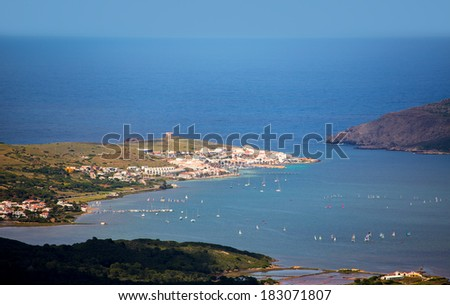 Menorca Fornells aerial view from Pico del Toro in Balearic islands - stock photo