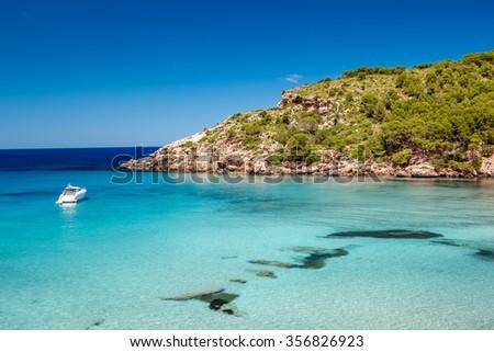 Menorca seascape at cala de Algariens, Spain. - stock photo