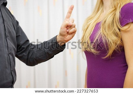 Mens Aggression Toward Women.  Verbal aggression - stock photo
