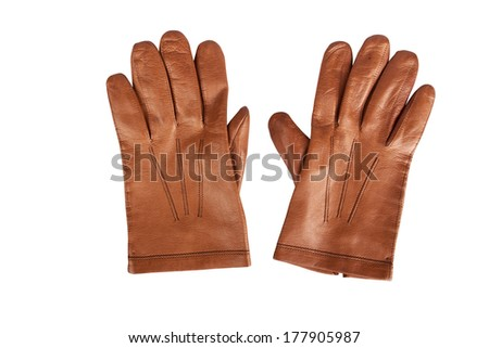 Mens gloves brown - stock photo