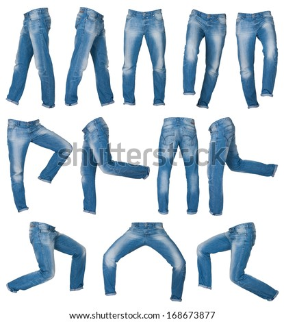 mens jeans in different poses isolated on white - stock photo