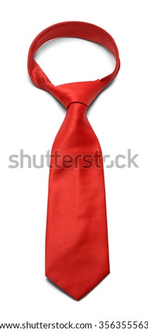 Mens Red Necktie Isolated on a White Background. - stock photo