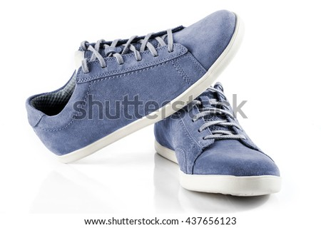Mens suede shoes of blue colour isolated on white background - stock photo