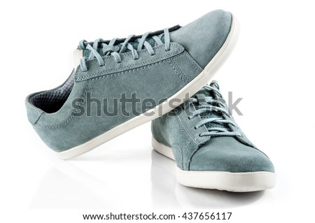 Mens suede shoes of cyan colour isolated on white background - stock photo