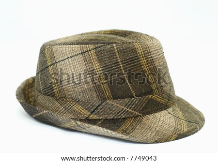 mens trendy plaid winter hat on white background - stock photo